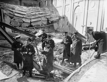 Authorities inspect rubble in aftermath of Knickerbocker Theatre collapse. (Source: Library of Congress)