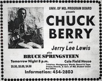 Advertisement for Chuck Berry show at University of Maryland (Source: Brucebase)