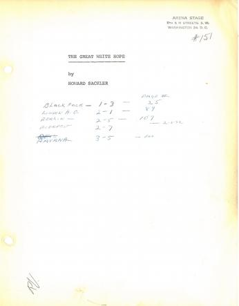 Marked up cover of a script from 1967 production at Arena, (Credit: Arena Stage Records, C0017, Special Collections Research Center, George Mason University Libraries.)