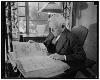 Clark Griffith, owner of the Washington Senators, reading the Evening Star. (Photo Credit: Harris & Ewing, Library of Congress)