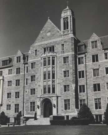 Exterior view of Copley Hall, the first dorm on campus to become coed.