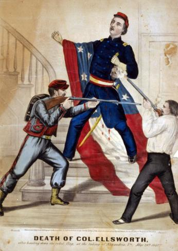 Death of Col. Ellsworth After hauling down the rebel flag, at the taking of Alexandria, Va., May 24th 1861; Creator: Currier & Ives. (Source: Library of Congress)
