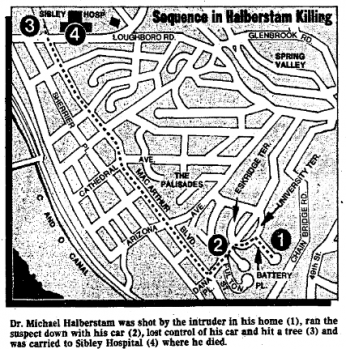 Evening Star illustration of Palisades neighborhood in Northwest Washington showing the sequence of events that led to Dr. Michael Halberstam's death and Bernard Welch's capture on December 5, 1980. (Reprinted with permission of the DC Public Library, Star Collection, © Washington Post.)