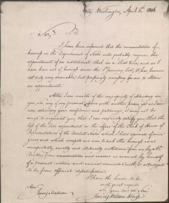 Letter to James Madison from Josias Wilson King, 5 April 1806. (Source: Library of Congress)