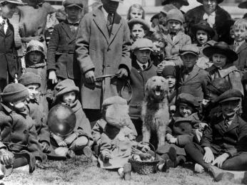 """Laddie Boy"" acted as host of the 1923 White House Easter Egg Roll, to the delight of the hundreds of children who attended.  Wilson Jackson, his caretaker, holds his leash. [Photo credit: Library of Congress, LOT 12295, v. 3]"