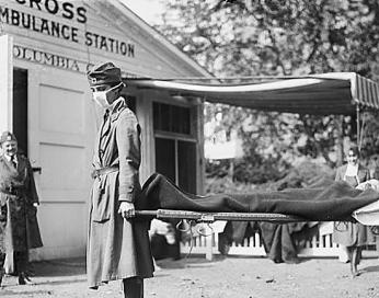 Red Cross Demonstration in D.C. During 1918 Influenza Pandemic (Source: Library of Congress Prints and Photographs Division, 1918)
