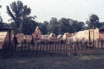 A view of the shacks of Resurrection City from outside the city's fence. (Photo source: Historical Society of Washington, DC)