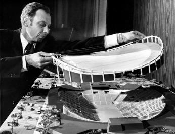 Abe Pollin with a model of the Capital Centre, the Capitals' first home.