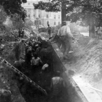 """Workmen digging tunnel between Library of Congress and U.S. Capitol, Aug. 16, 1895"" (Photo Source: The Library of Congress) Workmen digging tunnel between Library of Congress and U.S. Capitol., 1895. Photograph. https://www.loc.gov/item/2002723324/."