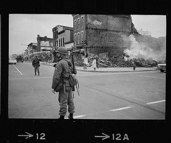 A soldier stands guard at 7th and N Street, N.W