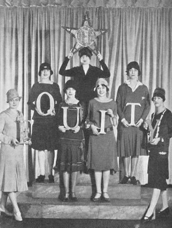 "Helen Hayes and six collaegues holding letters spelling ""Equity"" and a star. (Source: Actors Equity)"