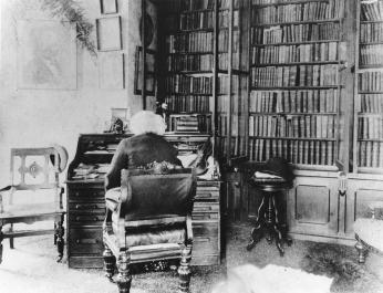 Frederick Douglass in his library at Cedar Hill in Anacostia. (Source: National Park Service)