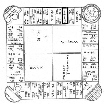Illustration from Magie's patent. Many of the features of Monopoly can be clearly seen in her game, including Jail, Railroads, and the Luxury Tax. (Image source: U.S. Patent Office.)
