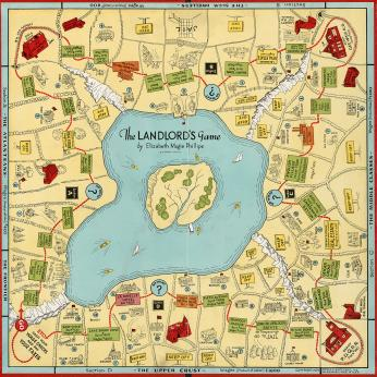 The Landlord's Game, as released by Parker Bros. in 1939. The game still operated with the same four-cornered continuous track as Magie's original, but the irregularly-shaped lake at the center and the off-center spaces made its similarities to Monopoly less obvious at a glance. (Image source: thelandlordsgame.info)