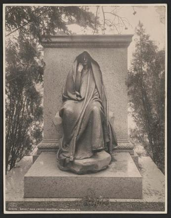 """Grief,"" the statue of a hooded figure erected for Clover Adams by Henry Adams. (Photo source: Library of Congress.)"