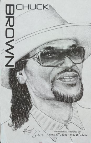 Drawing Commemorating the Life of Chuck Brown (Used with Permission of DC Library's Washingtoniana Collection)