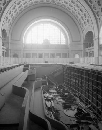 The 1980s restorers of Union Station had to get rid of a pit that had been created in the middle of the station, which housed a slide show theater. Credit: National Archives