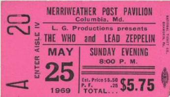 Ticket from the concert. Led Zeppelin was so new, their name was misspelled!