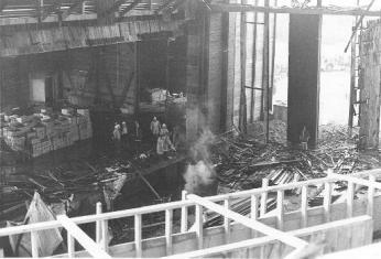 A photo from the Filene Center balcony after the 1971 fire. (Source: Falls Church Volunteer Fire Department)