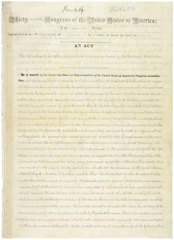 The April 1862 federal law that finally abolished slavery in DC. Source: National Archives (Note: click on image to see the full-size, zoomable document).