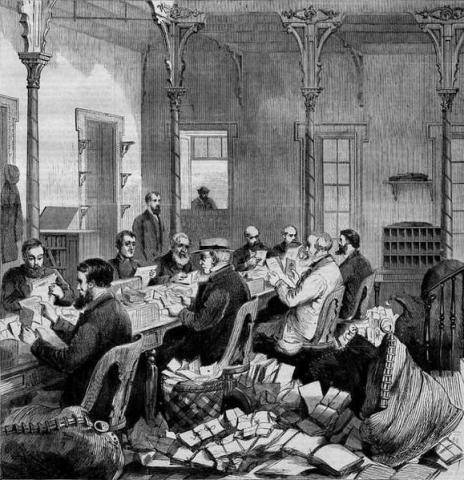 The Washington Dead Letter Office in the 1860s, from a Harper's Weekly engraving by Theodore R. Davis. Credit: Wikimedia Commons