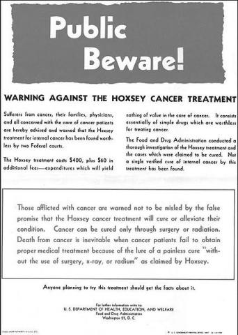 In 1957, the FDA put up a warning poster in 46,000 post offices about Hoxsey's dubious cancer cure. Credit: Wikimedia Commons