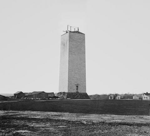 The unfinished Washington Monument, circa 1860. Source: Library of Congress