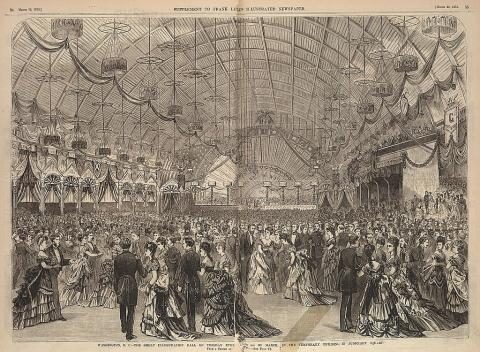 The great inauguration ball for Ulysses S. Grant, March 4, 1873, in the temporary building in Judiciary Square, from a sketch by Jas. E. Taylor. (Photo: Library of Congress)