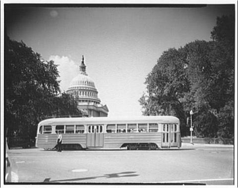 A streetcar in front of the U.S. Capitol. Credit: Theodor Horydczak, Library of Congress
