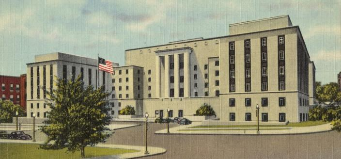War Department Building, 21st and Virginia Ave., N. W., Washington, D. C. (Source: Boston Public Library, Tichnor Brothers Postcard Collection)