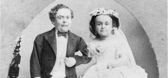 Tom Thumb, -1883, with wife in wedding costume., 1863. Photograph. https://www.loc.gov/item/2005685454/.