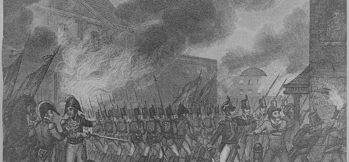 British soldiers set fire to Washington on August 24, 1814, prior to the worst storm that had been seen in Washington for years. (Image Source: National Archives and Records Administration, College Park)