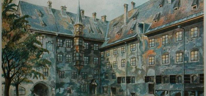 The Courtyard of the Old Residency in Munich, Adolf Hitler, 1914 (Source: Wikipedia)