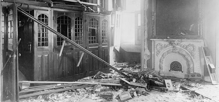 When a bomb exploded in the U.S. Capitol on July 2, 1915, it caused major damage to the Senate reception room and set off a crazy chain of events. (Photo source: Library of Congress)