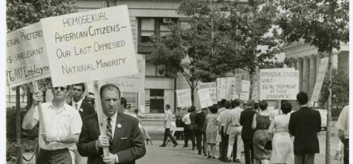 Frank Kameny protests outside Independence Hall in 1965