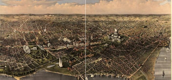 A birds-eye view of D.C., with Babcock Lakes shown next to the Washington Monument (Source: Library of Congress.)