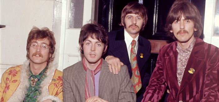 The Beatles outside manager Brian Epstein's house at 24 Chapel Street, London, during the press launch for their new album, 'Sergeant Pepper's Lonely Hearts Club Band', 19th May 1967. (Photo by Mark and Colleen Hayward/Getty Images)