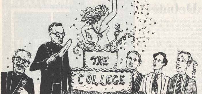 "Cartoon from Georgetown student publication The Hoya, picturing a woman jumping out of a cake labelled ""The College"" to the surprise of several male faculty and students."