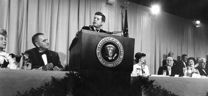 AR7606-H. President John F. Kennedy Speaks at Fundraising Event for the National Cultural Center, November 29, 1962 (Photo Source: John F. Kennedy Presidential Library and Museum) AR7606-H, Abbie Rowe. White House Photographs. John F. Kennedy Presidential Library and Museum, Boston