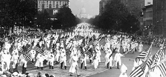 Membership in the Ku Klux Klan spiked in the 1920s as evidenced by the thousands of marchers at the KKK's 1925 rally in Washington. (Photo source: Prints and Photographs Division, Library of Congress)