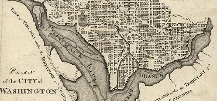 Development of Pierre L'Enfant's Plan for the City of Washington was still in its infancy when Frances Few visited Washington in the early 1800s. (Source: Library of Congress)