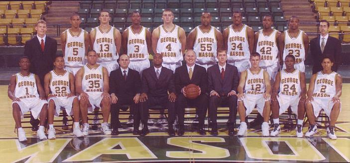 The 2006 George Mason basketball team poses for a group photo