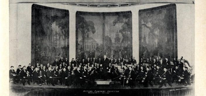 The National Symphony at their inaugural concert on January 31, 1930 (Photo Source: Used with Permission from the NSDAR Archives)