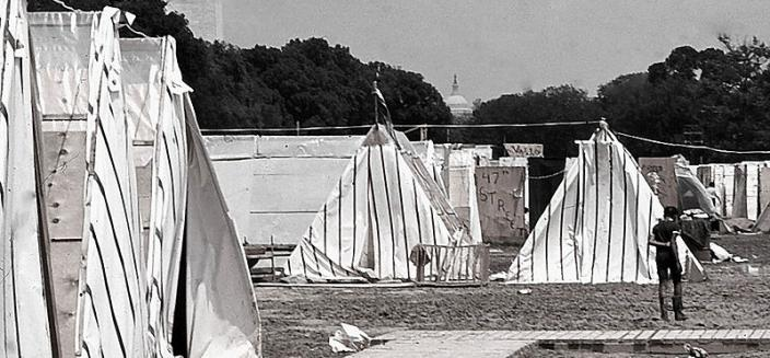 Resurrection City spent six muddy weeks on the National Mall, within view of landmarks such as the Capitol. (Photo source: Wikipedia Commons)
