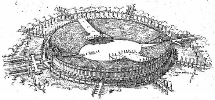 Perhaps D.C.'s recent bid to host the Olympics would've been more successful if this stadium had been built on the Potomac. Then again we would've lost out on the Lincoln Memorial.(Photo source: Washington Post)