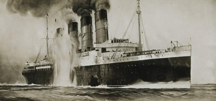 When the RMS Lusitania was hit by a German torpedo on May 7, 1915, it took less than 20 minutes for the luxurious ocean liner to sink. (Source: Wikimedia Commons)