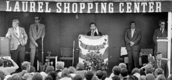Gov. George Wallace addresses the crowd at his May 15, 1972 campaign stop in Laurel, Maryland. Moments after this photo was taken he was shot by Arthur Bremer. (Photo by Mabel Hobart)