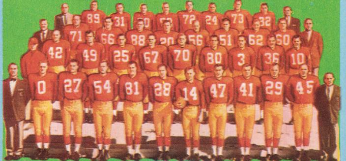 The Washington football team in 1961. (Image source: RedskinsCardMuseum.com)