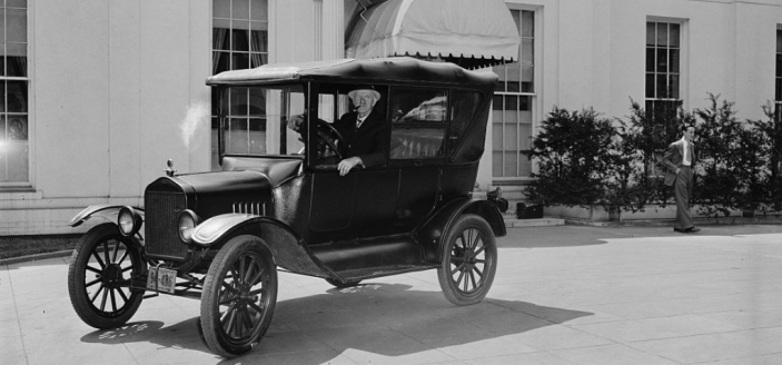 Ford Motor Company super-fan Ernest Franke, a retired D.C. baker, drove circles around the White House hoping to show off his 1921 Ford model to Henry Ford when the car magnate met with FDR on April 27, 1938. Franke eventually was shooed away by guards. (Source: Library of Congress)
