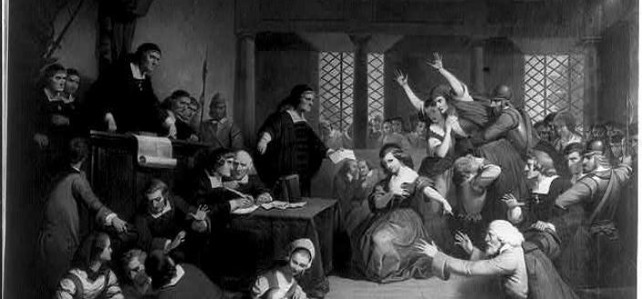 An extremely dramatic depiction of the 1692 Salem trial of George Jacobs for witchcraft. Presumably there was considerably more order in the court when Rebecca Fowler was tried in Maryland seven years earlier, but she and George shared the same fate. (Image source: Library of Congress)